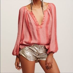 Free people against all odds grommet v neck tunic